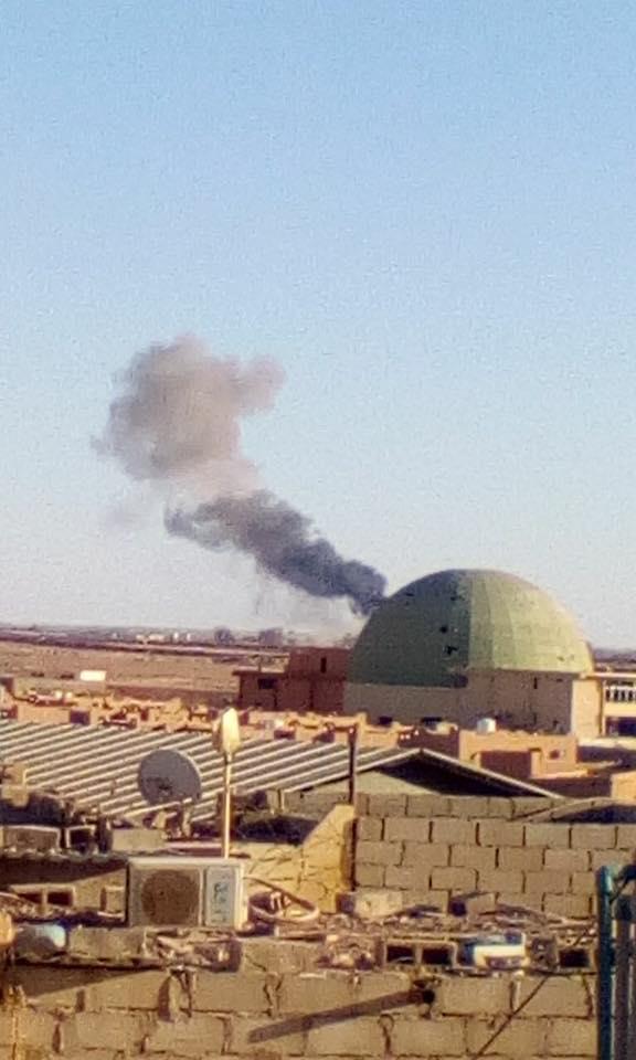 Bombardements aériens près de l'aéroport de Sabha .  __________ 14-04-2017.